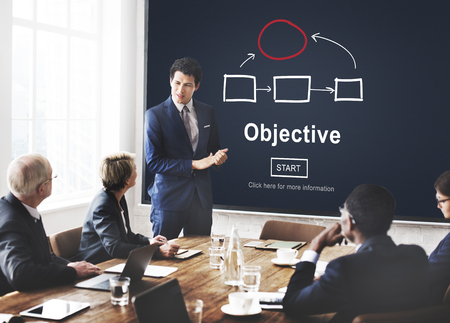 objective: Objective Plan Process Tactics Vision Concept Stock Photo