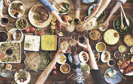 sharing food: Friends Happiness Enjoying Dinning Eating Concept