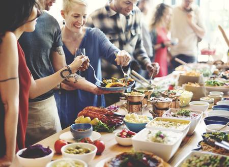 dessert buffet: Brunch Choice Crowd Dining Food Options Eating Concept