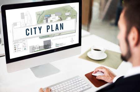Ville plan Municipalité Communauté Ville Concept de gestion Banque d'images