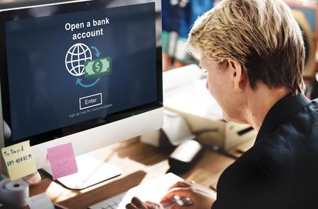 cuenta bancaria: Abrir una Ahorros concepto de banca financiera de la cuenta bancaria
