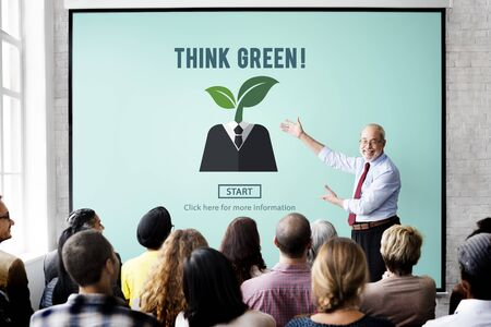 intern: Think Green Ecology Environmental Conservation Concept Stock Photo
