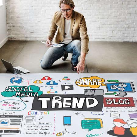 place of work: Trends Social Media Update Online Internet Concept