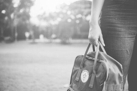 knapsack: Backpack Baggage Haversack Knapsack Bag Leisure Concept