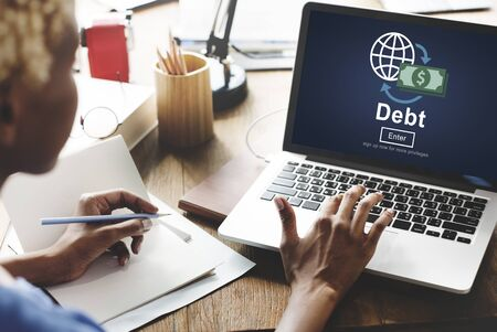 owe: Debt Loan Credit Money Financial Problem Concept Stock Photo