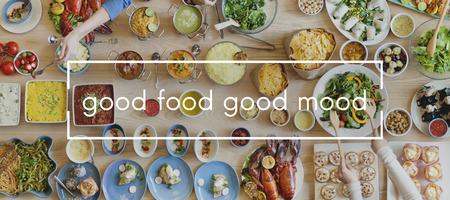 comida rica: Concepto Unión buena comida, buena Alimento del partido del estado de ánimo