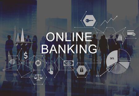 Banca en línea de negocios concepto de computación comercial