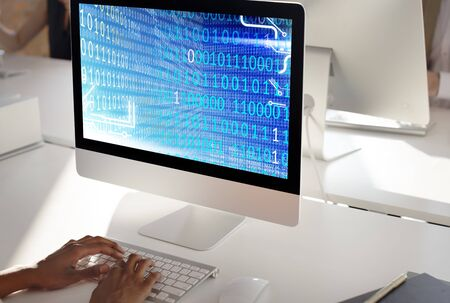 software company: Binary Code Digits Technology Software Concept