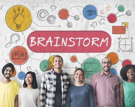 friend chart: Brainstorm Ideas Creativity Process Diagram Concept