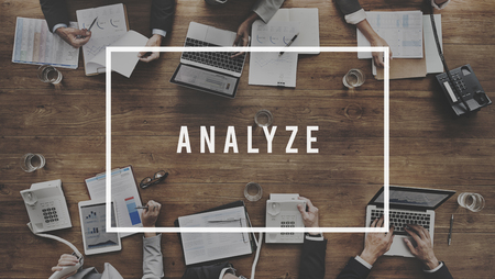 strategize: Analyze Plan Process Strategize Statistics Concept Stock Photo