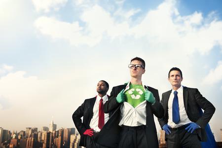 conquering: Recycle Reuse Superhero Achievement Conquering Concept