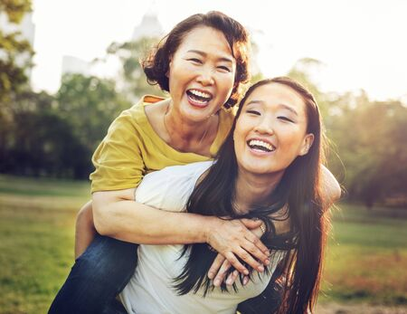 parent and teenager: Daughter Mother Adorable Affection Casual Life Concept Stock Photo