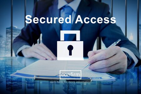 private data: Secured Access Protection Security Safe Concept