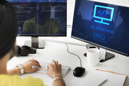 Algorithm Data Coding Process Diagram Concept Reklamní fotografie