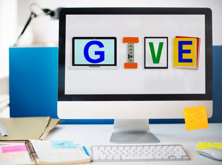 cooperate: Give Donations Aid Charity Design Word Concept Stock Photo