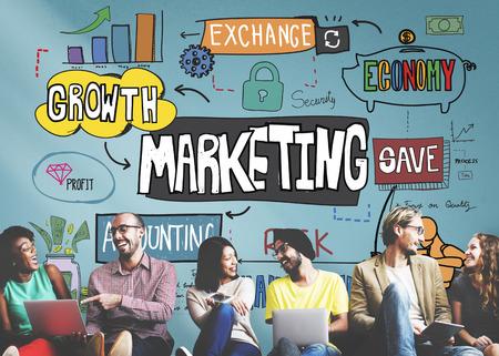 マーケティング経済商業デジタル成長コンセプト
