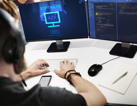 Программное обеспечение компьютеров Цифровая домашняя страница Концепция данных