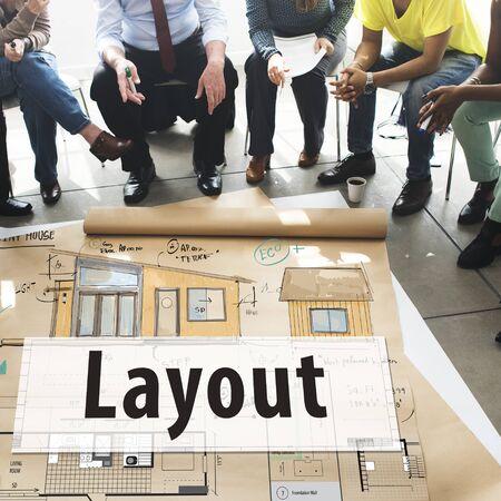 editing: Layout Blueprint Design Consturction Editing Concept Stock Photo