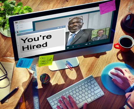 hired: Youre Hired Recruitment Employment Hiring Career Concept
