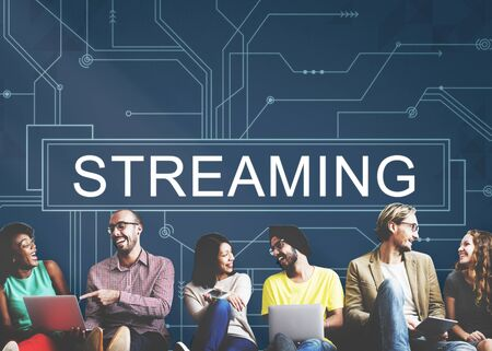 streaming: Streaming Online Internet Technology Concept Stock Photo