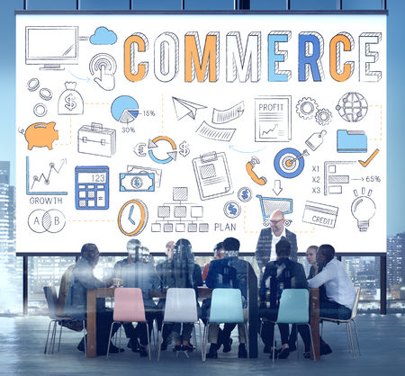 selling service: Commerce Business Marketing Strategy Finance Concept Stock Photo