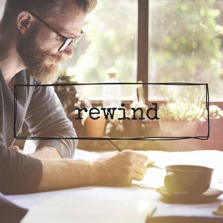 rewind: Rewind Break Relax Writing Concept Stock Photo