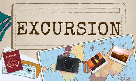 exploring: Excursion Travel Trek Exploring Adventure Concept