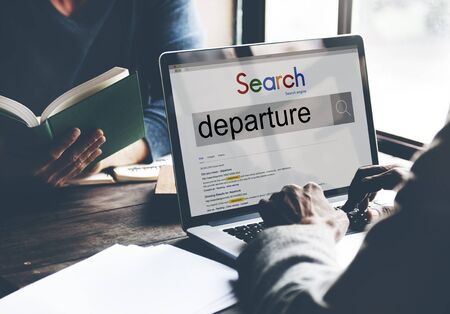to depart: Departure Departing Depart Going Leaving Travel Concept Stock Photo