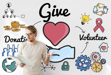 giving: Give Donations Volunteer Welfare Support Concept Stock Photo