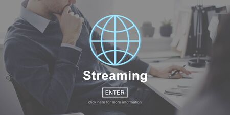 streaming: Streaming Internet Media Computer Download Concept