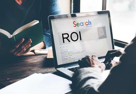 return on investment: ROI Return Investment Corporate Finance Money Concept Stock Photo