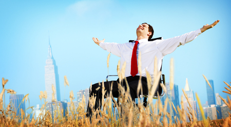 freedom: Businessman Relaxation Freedom Happiness Getaway Concept