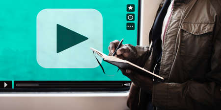windows media video: Play Button Movie Clip Stream Media Concept