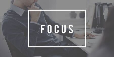 target thinking: Focus Determine Concentration Focusing Clartiy Concept Stock Photo