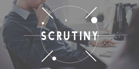 scrutiny: Scrutiny Investigation Looking Discovery Concept Stock Photo