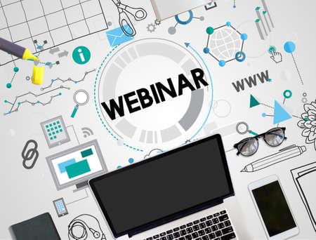 online conference: Webinar Seminar Online Conference Concept