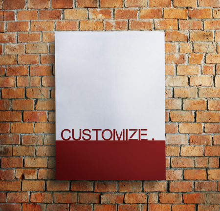 Customize written on a paper on a wall