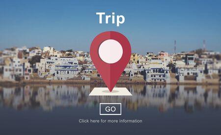 lake district: Trip Travel Destination Direction Map Concept Stock Photo