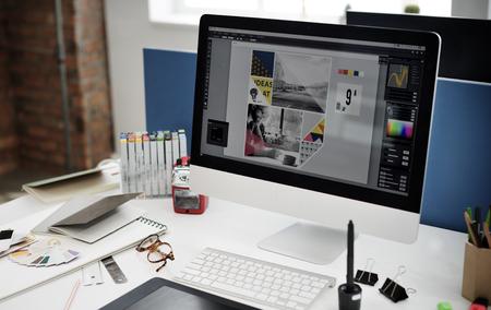 Design Studio Criatividade Ideia Madeira Paleta Decoração Conceito