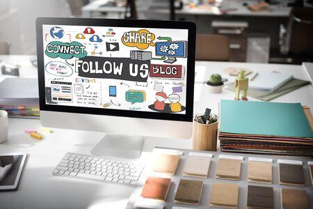 tech no: Follow us Social Media Connection Followers Concept