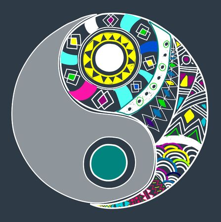 chinese philosophy: Creative Colorful Yin and Yang Symbol Stock Photo