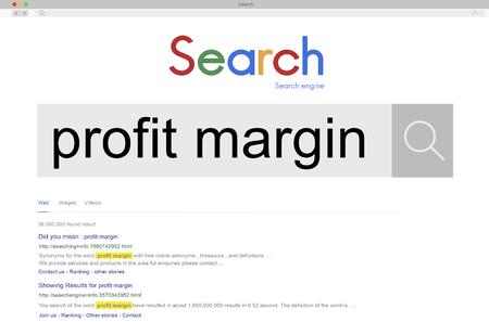 margin: Margen de beneficio de costes financieros de Suma Fija concepto bruto Foto de archivo
