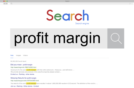 margen: Profit Margin Costs Finance Income Payments Gross Concept Foto de archivo