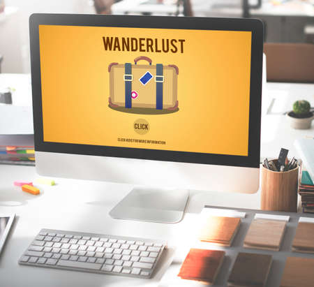 wanderlust: Tourism Travel Wanderlust Vacation Laggage Concept