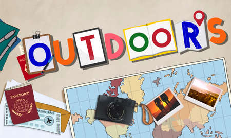 lifestyle outdoors: Outdoors Lifestyle Recreation Word Concept