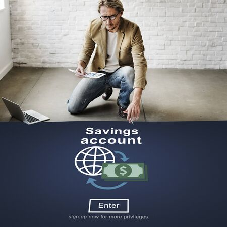 web layout: Savings Account Money Global Finance Concept