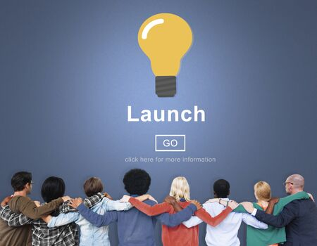 huddle: Launch Start Brand Introduce Light Bulb Concept Stock Photo