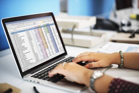 spreadsheet: Spreadsheet Marketing Budget Report File Concept Stock Photo