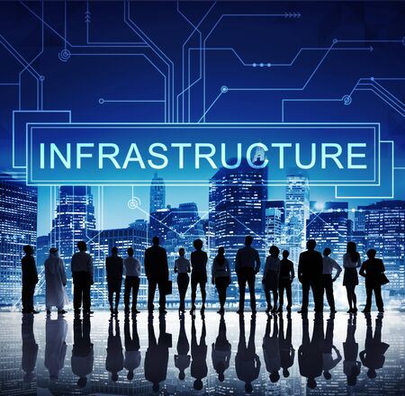 infrastructure buildings: Infrastructure Technology Circuit Board Information Framework Concept Stock Photo