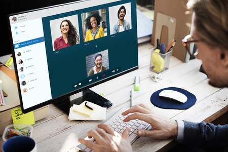Groep Vrienden Video Chat Connection Concept Stockfoto
